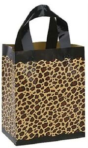 Plastic Shopping Bags Leopard Cheetah 100 Frosted Frosty Merchandise 8 X 5 X 10