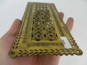 Victorian Brass Finger Plate Push Door Handle Pierced Floral Flowers Antique Old