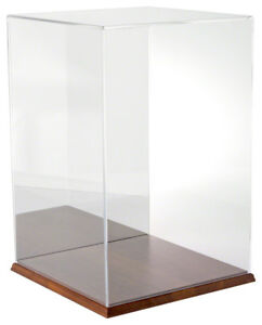 Plymor Acrylic Display Case With Hardwood Base mirrored 12 W X 12 D X 18 H