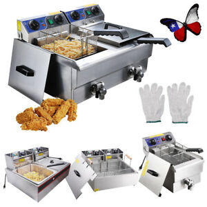 20l Commercial Deep Fryer W Timer Drain Fast Food French Fry Electric Stainless