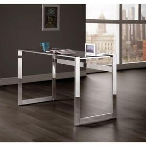 Elegantly Charmed Metal Writing Desk Silver