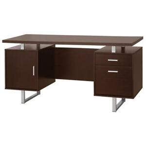 Double Pedestal Office Desk With Metal Sled Legs Brown