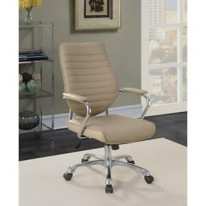 Leatherette Upholstered Metal Office Chair With Padded Armrests Mocha Brown