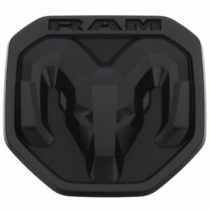 New Oem Mopar Tailgate Dodge Rams Head Emblem Badge Matte Black 2019 Ram 1500 Dt