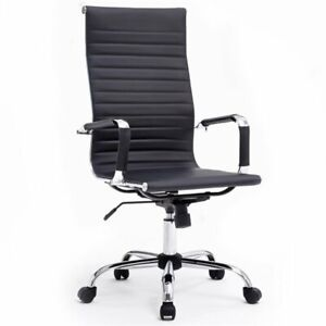 Hodedah Ribbed Pu Leather High Back Swiveling Executive Chair