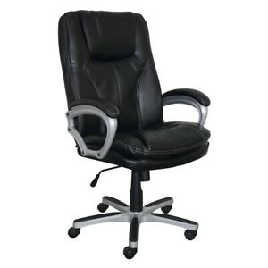 Serta Executive Big And Tall Office Chair In Faux Black Leather