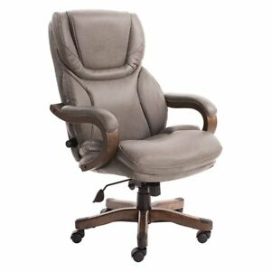 Serta Big And Tall Executive Office Chair In Gray Bonded Leather