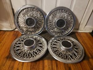 Set Of 4 Oem 1983 93 Ford Mustang Thunderbird 14 Wire Spoke Hubcap Wheel Covers