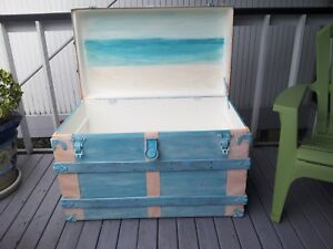 Antique Steamer Train Trunk Travel Beach Seaside Vintage Weathered Ocean Chest