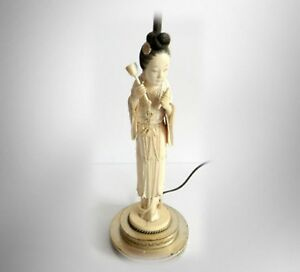 Figural Vintage Lamp With Carved Oriental Woman Figurine Single Bulb