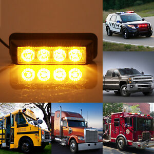 4 Led Strobe Dash Emergency Flashing Warning Light For Car Truck Yellow Amber Us