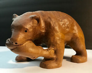 Vintage Hand Carved Grizzly Bear With Salmon In Mouth Handmade Folk Art 7 Long