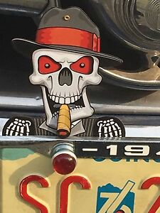 Hot Rod License Plate Topper Skeleton Head Skull All Metal Unique Mechanical