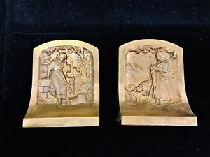 Vintage Art Deco Solid Bronze Bookends Young Girl At Well