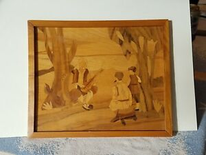 Vintage Framed Wood Marquetry Inlay Picture Serbian Musician Playing To Friends