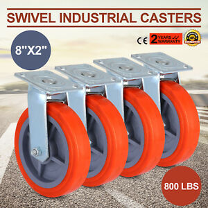 4 Pack 8 Swivel Casters Polyurethane Wheel Construction Furniture Ladder