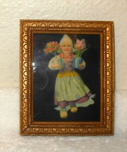 Vtg Wood Picture Frame 3 X 3 5 Embossed Wood W Dutch Girl Flowering Bulbs
