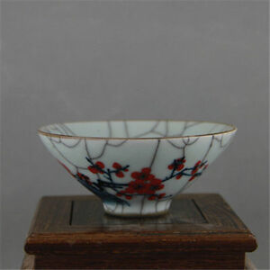 Old China Porcelain Qing Doucai Contrasting Colors Plum Blossom Bowl