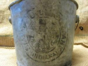Vintage Galvanized Standard Oil Grease Metal Bucket Antique Old Pail Pot 9847