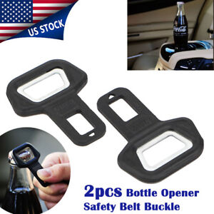 2pcs Universal Car Auto Bottle Opener Seat Belt Buckle Alarm Stopper Clip Us
