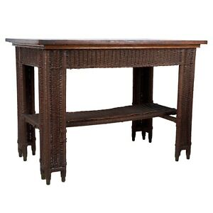 Arts Crafts Wicker Library Table