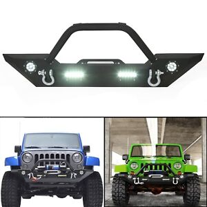 Front Bumper W Ledlight Winch Plate Textured For 07 18 Jeep Wrangler Jk