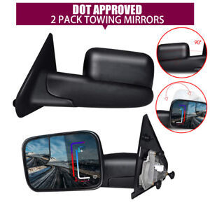 New 2pack Power Heated Tow Side View Mirrors For Model Dodge Ram 1500 02 08