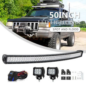 50 Curved Led Light Bar Driving Truck Combo For 93 98 Jeep Grand Cherokee Zj