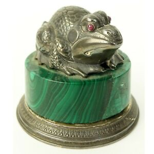 A Fine Faberge 88 Russian Silver And Malachite Frog Figure