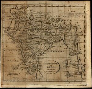 India Hindostan C 1797 1805 Gridley Doolittle Engraved Old Map Wheat