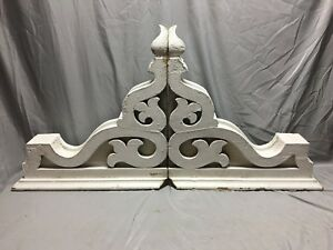 Pair Extra Large Antique White Roof Corbels Cornice Shabby Vtg Chic Old 2 19m