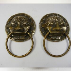 Collectible Old Handwork Copper Hammered Pair Dragon Door Knocker Large