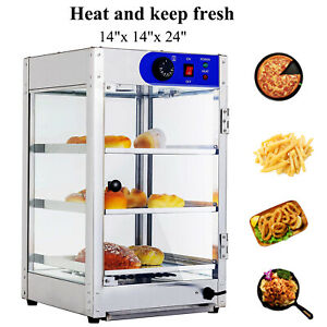17 x17 x27 Commercial 3 tier Countertop Food Pizza Warmer Display Cabinet Case