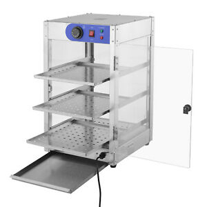 2 3 tier Commercial Food Pizza Warmer Cabinet Countertop Heated Display Case