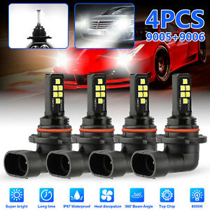 4x 9005 9006 Super White Led Combo Headlight High Low Beam Fog Light Bulbs 6000k