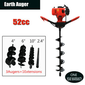 52cc Gas Powered Earth Auger Power Engine Post Hole Digger 4 6 10 Drill Bits