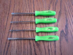 Snap On Green Handle Mini Screwdriver Set Sddx40 Phillips Flat New Ships Free