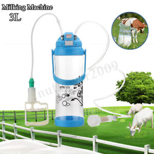 3l Portable Hand Barrel Milking Machine Goat Sheep Milker Vacuum Cattle Farm