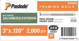 Paslode Collated Framing Nails Ring Shank Paper Tape Galvanized 3x 120 2000 pack