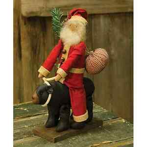 New Primitive Country Folk Art Rustic Cabin Santa Riding Black Bear Doll 12