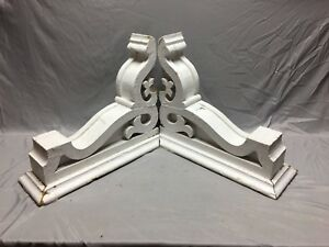 Pair Large Antique White Roof Corbels Cornice Shabby Vtg Chic Old 3 19m