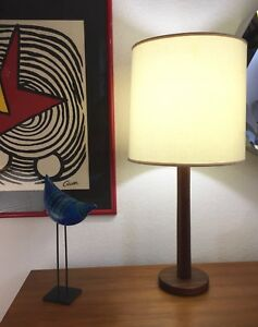 Mid Century Modern Vintage Teak Table Desk Lamp Sculpture Martz Era