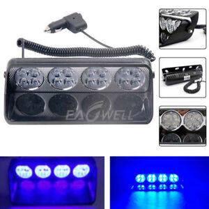 Car 16led Blue Blue Strobe Flash Light Dash Emergency Warning Flashing Light 12v