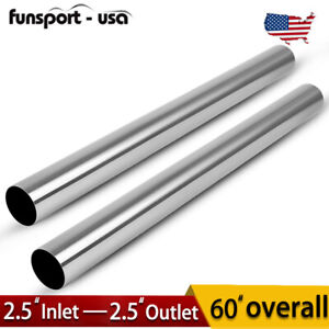 2pcs Od 2 5 5 Ft Long Straight Exhaust Piping Tubing Tube Pipe Stainless Steel
