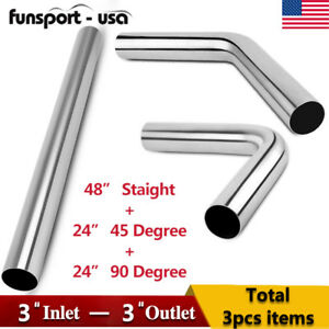 3 Inlet Outlet Exhaust Pipes 4 Feet Staight 45 90 2ft Bend Tube Kit S s