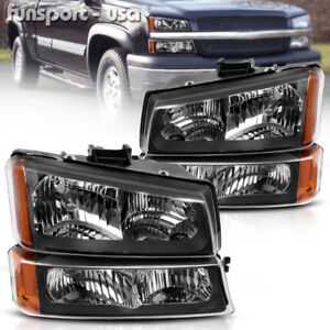 For 2003 2006 Chevy Silverado Black Housing Amber Side Headlights Lamp Assembly