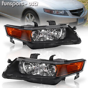 For 2004 2005 Acura Tsx Black Projector Headlights Headlamps Assembly Left Right