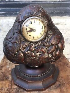 Stunning Art Deco Carved Walnut Clock By Sue Et Mare Dated 1925
