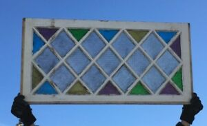 Antique Diamond Stained Colored Glass Window Sash Old Vintage 20x41 686 18c
