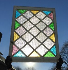 Antique Stained Colored Glass Window Sash 33x42 Old Shabby Vintage Chic 690 18c